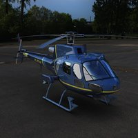 police as350 ecureuil helicopter 3d model