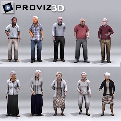 3d model elderly people