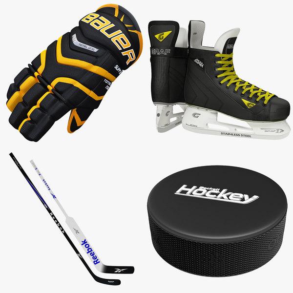 Ice Hockey Gloves Skates and Sticks