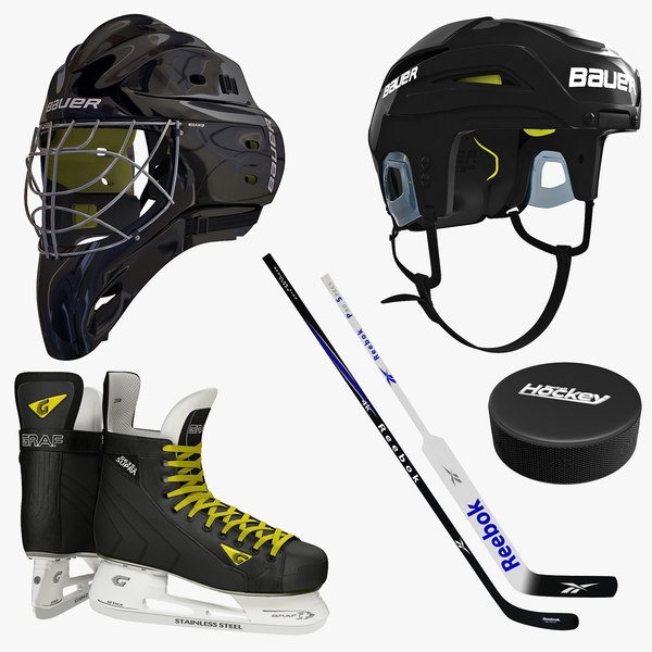 ice hockey equipment 3d model