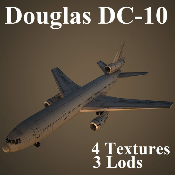 3d douglas dc-10 low-poly