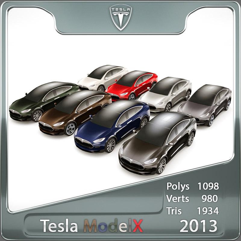 3d 2013 tesla x custom car
