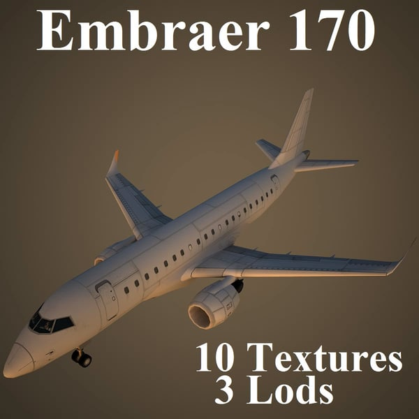 embraer air low-poly 3d max
