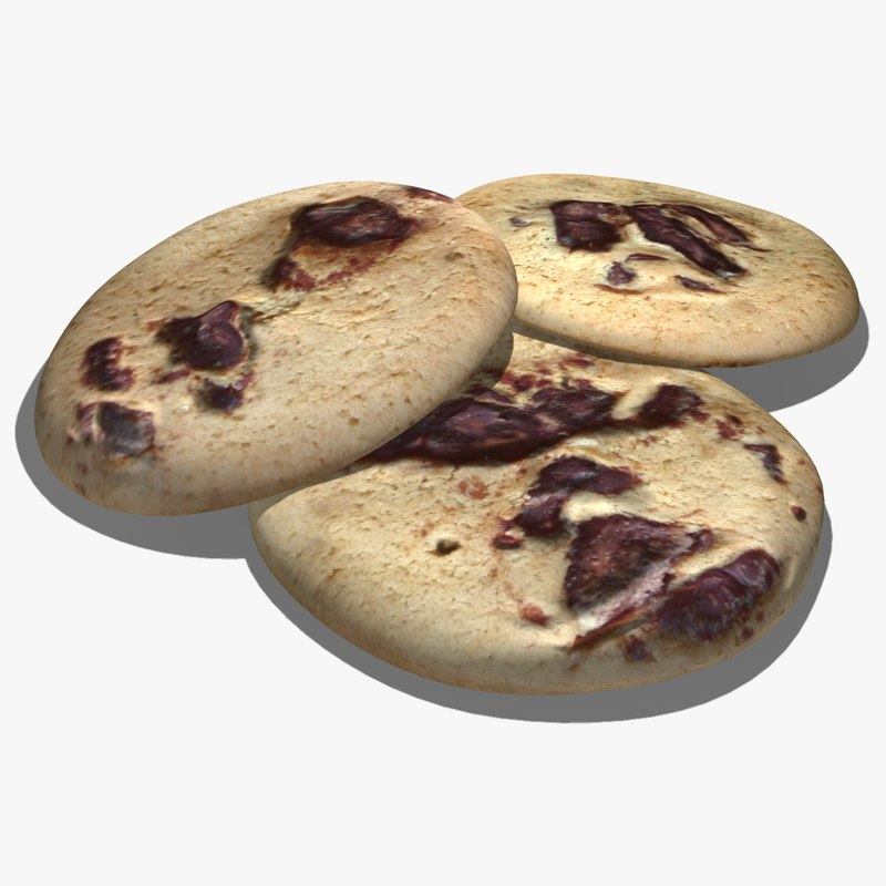 chocolate chip cookie 3d model