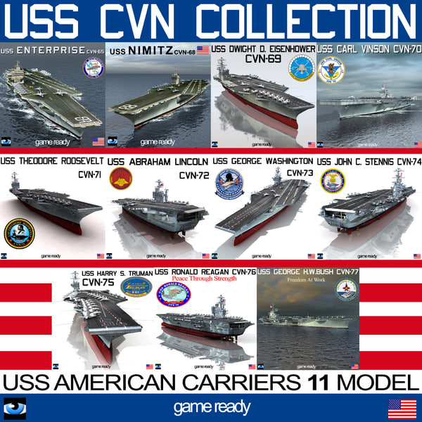 uss cvn aircraft carrier 3d model