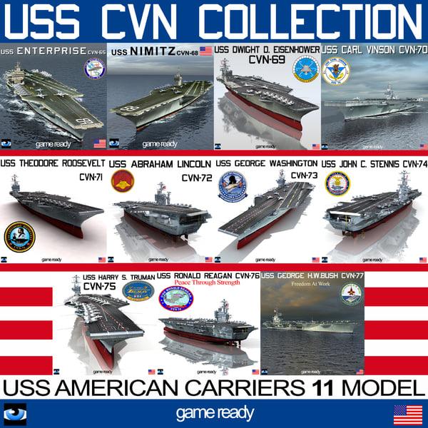 uss cvn aircraft carrier 3d model