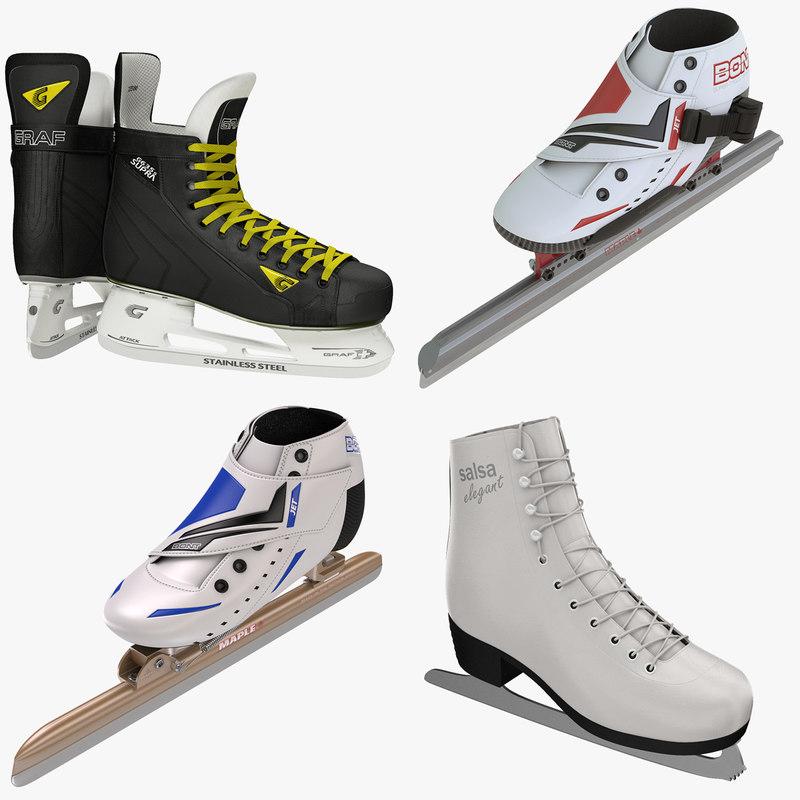 3d model winter sports skates