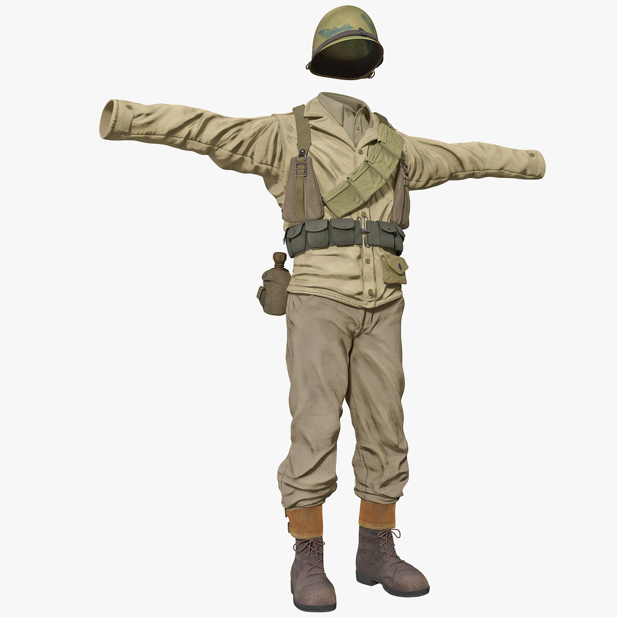 3ds max american wwii infantry soldier