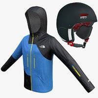 3d model snowboard jacket helmet
