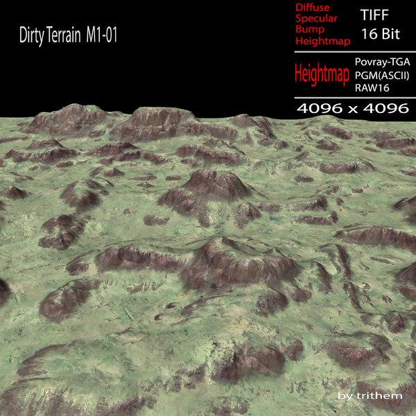 3d dirty terrain m1-01 model