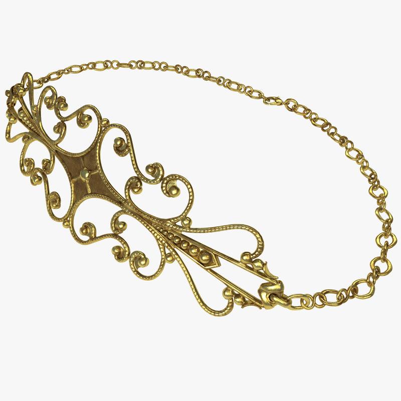 filigree necklace 3d model