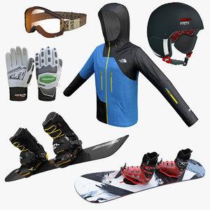 3d snowboard equipment model