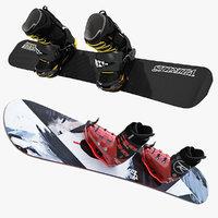 3d model of snowboard softboot kit hardboot