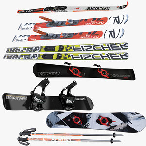 skis snowboards poles olympic 3d model