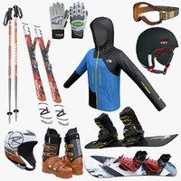 3d ski snowboard equipment