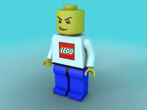 classic lego character 3d c4d