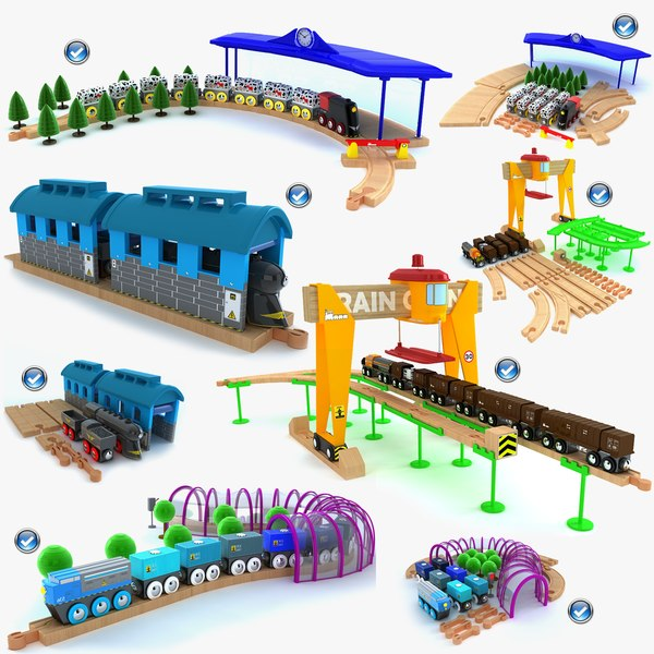 kids train toys set 3d model