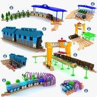 kids train toys set 3d model