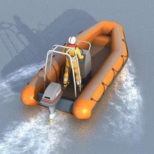 3d model rigid inflatable boat