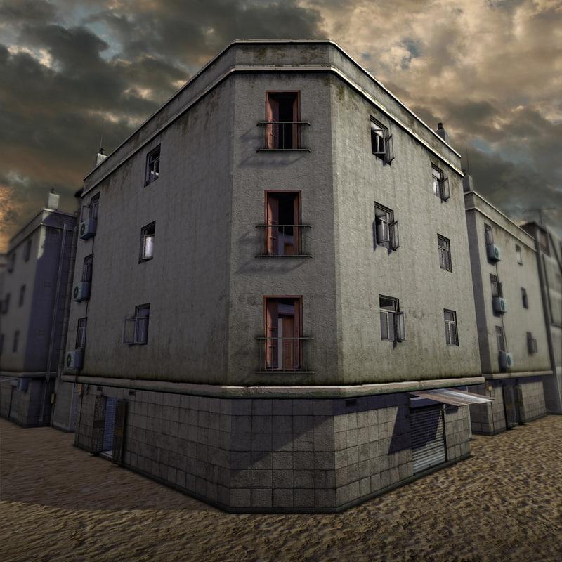 accessible urban building 3d obj