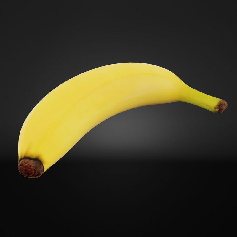 banana fruit food 3d model