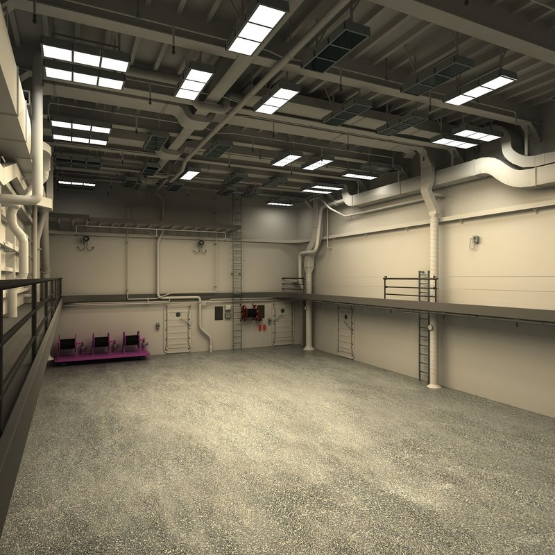 3d model industrial interior for 3d decoration models