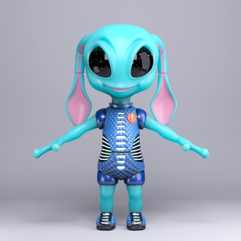 3d max alien cartoon