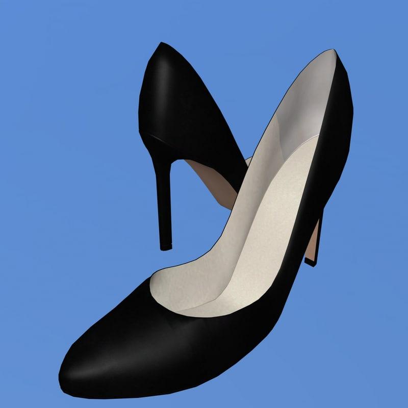 3ds max elegant black heel shoe