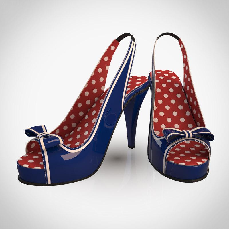 3d navy shoes model