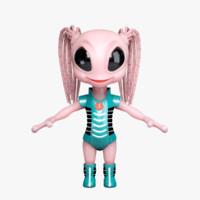 alien character lo 3d obj