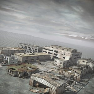 destroyed buildings ruined cities 3d model