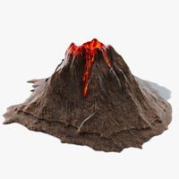 3d volcano island model