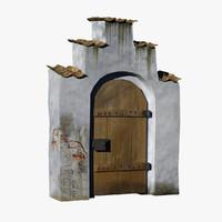 3d old portal wood door
