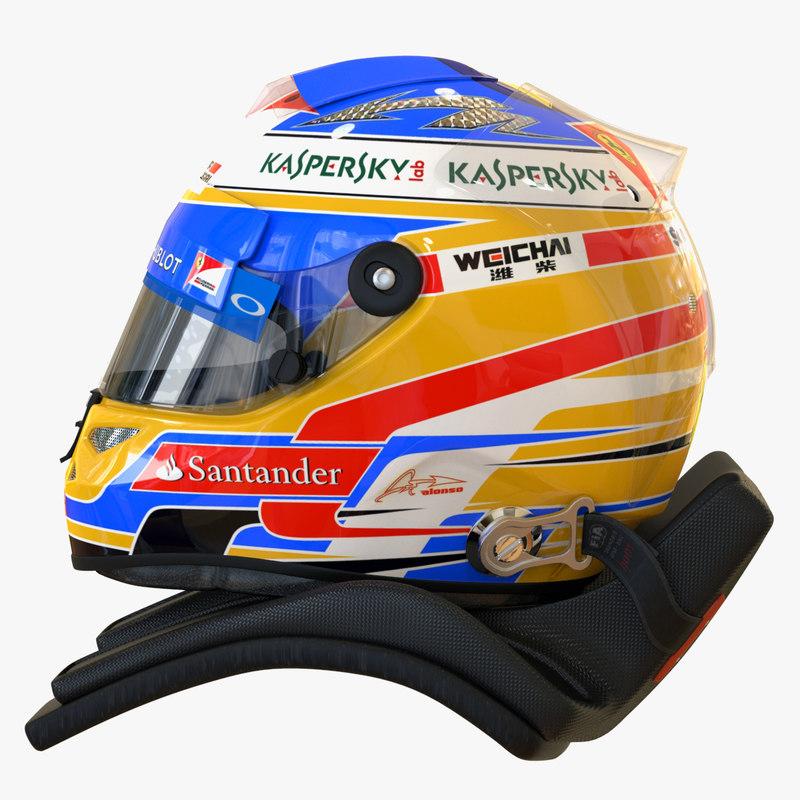 racing helmet fernando alonso 3d model