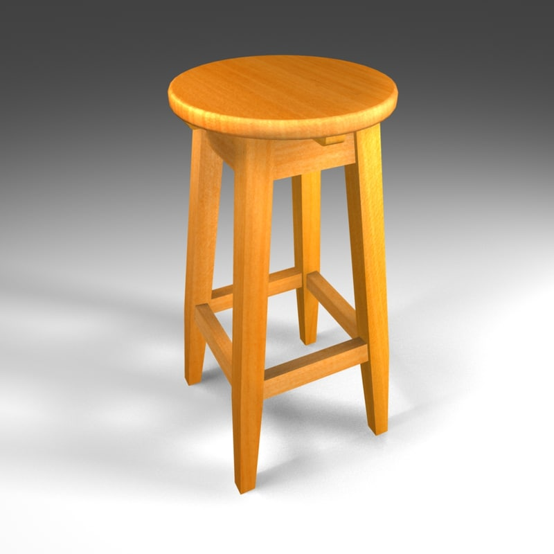 stool wooden wood 3d max