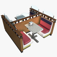table seating restaurant 3d model