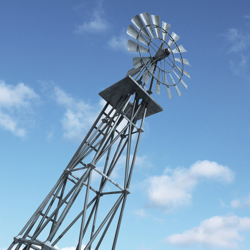 traditional windmill american 3d model