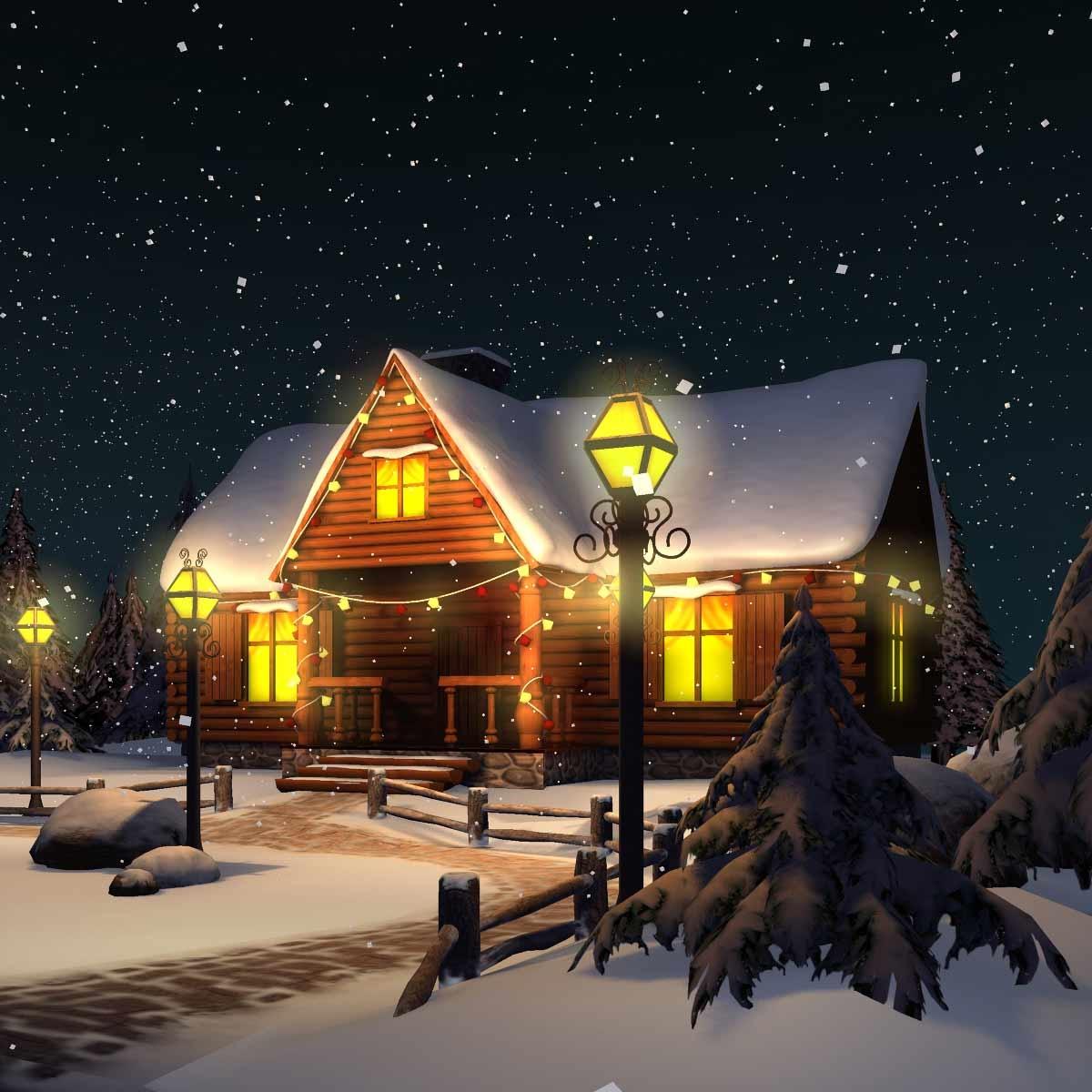 Christmas House.Winter Snow Christmas Scene