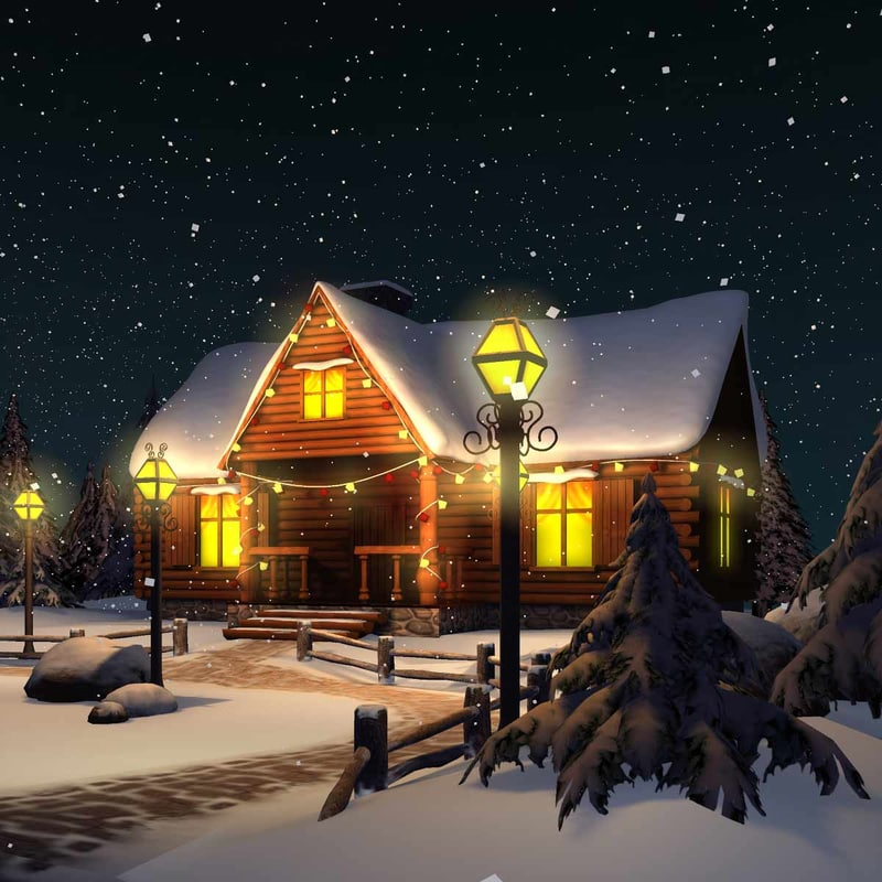 3d complete scene christmas house model