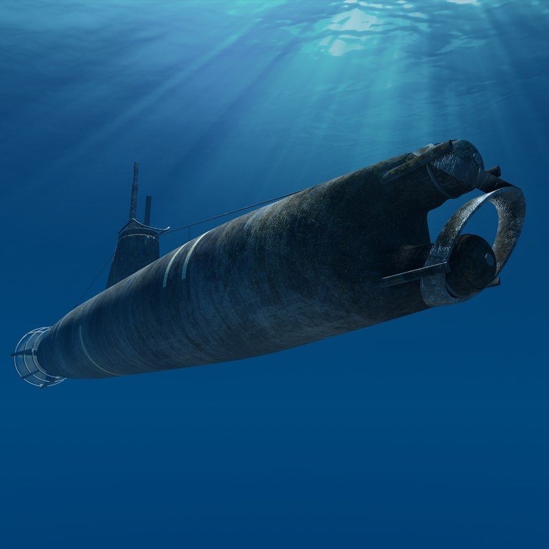 submarine surcouf french 3d model
