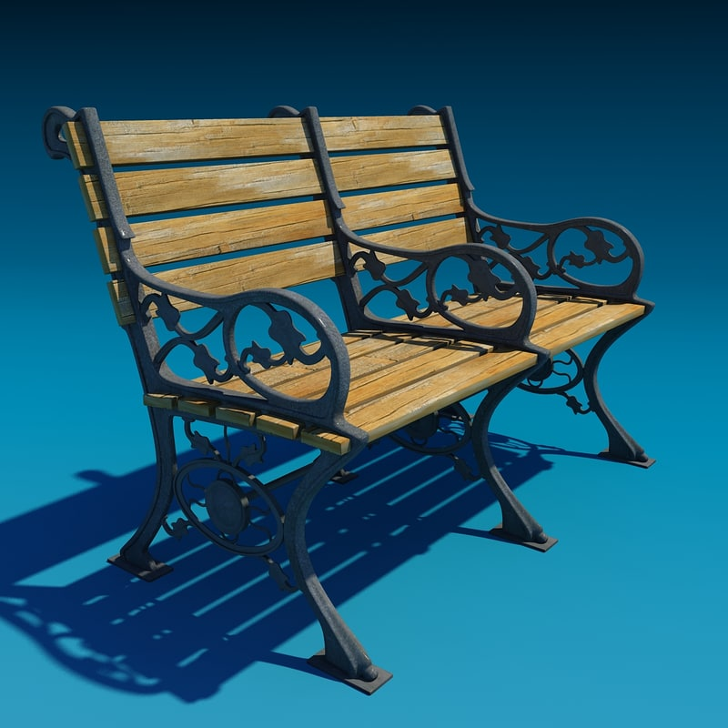 3d decorated bench model