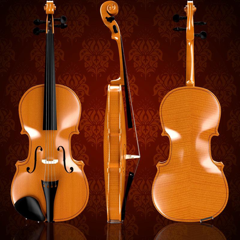 violin wood 3d 3ds