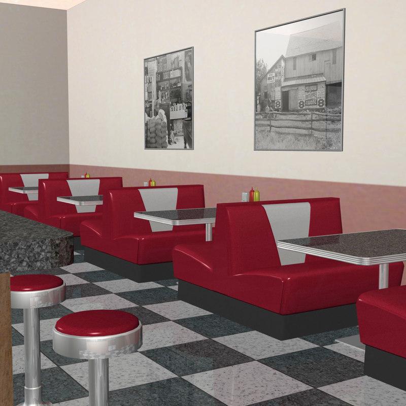 3d model diner soda coffee