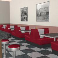 3d model diner soda coffee