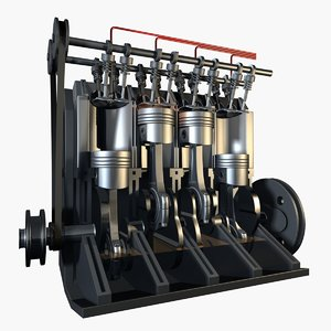 3d cylinder engine cuts model