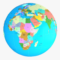 3d model geopolitical globe political