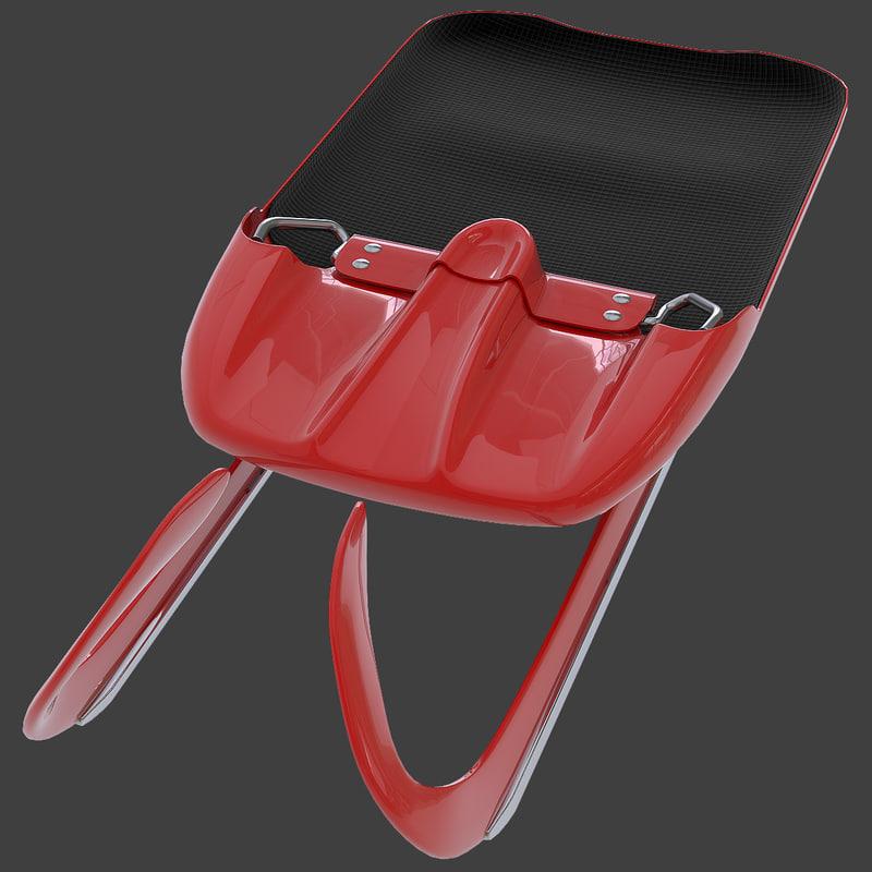 3d model luge sled