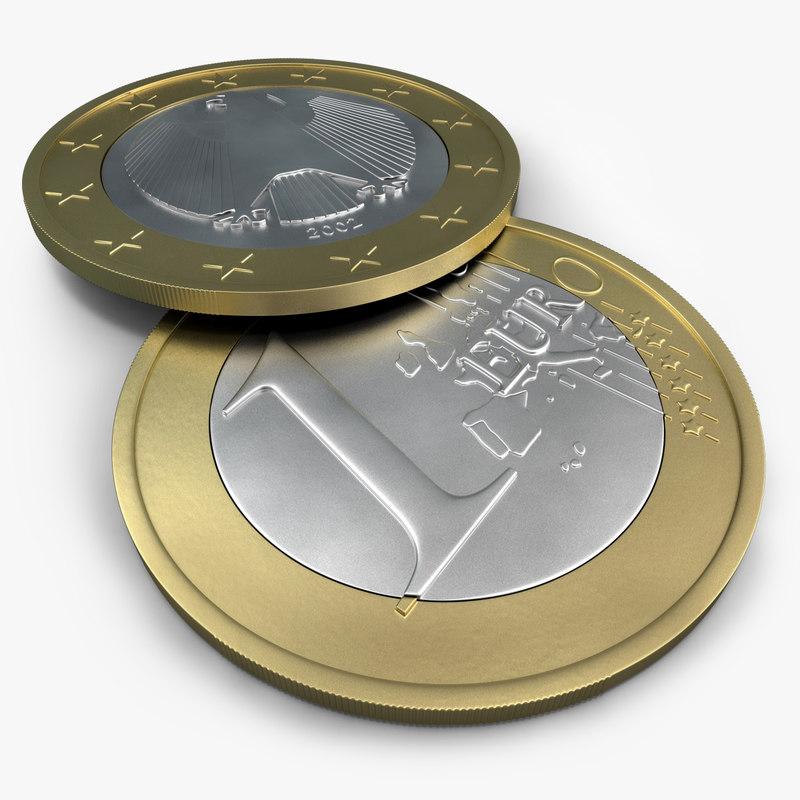 euro coin 3d c4d