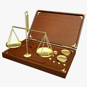 antique weigh scales box 3d model