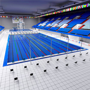 diving swimming olympic pools 3d max